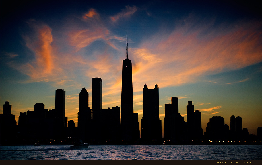 Chicago Architectural Photography Sunset City Skyline