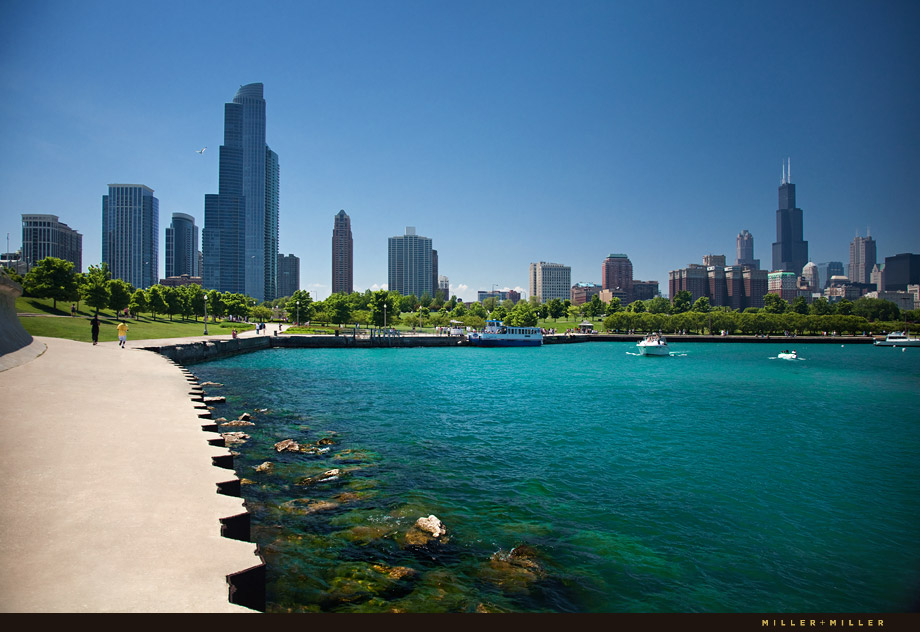 chicago skyline photography by water lake michigan