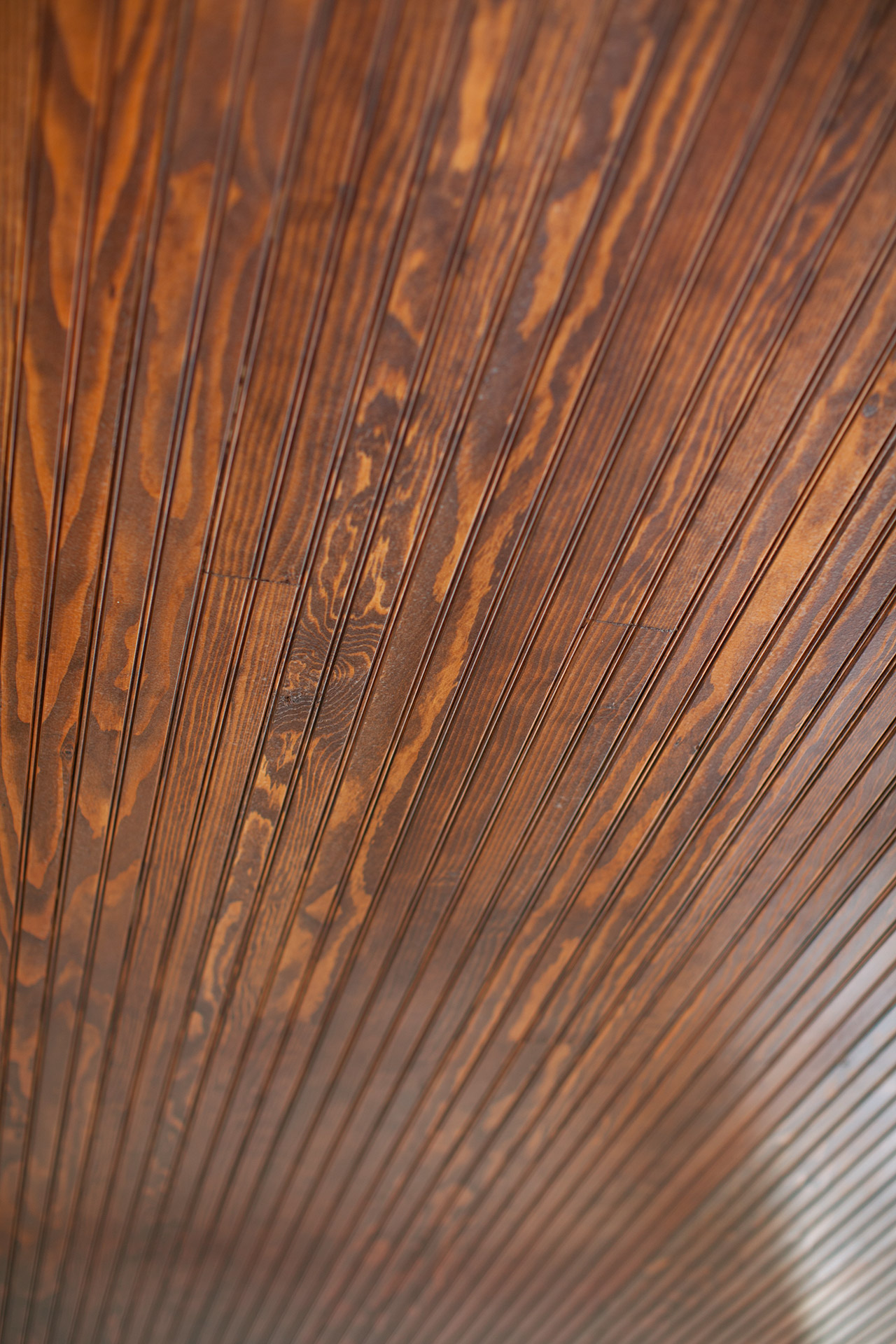 Beadboard exterior ceiling