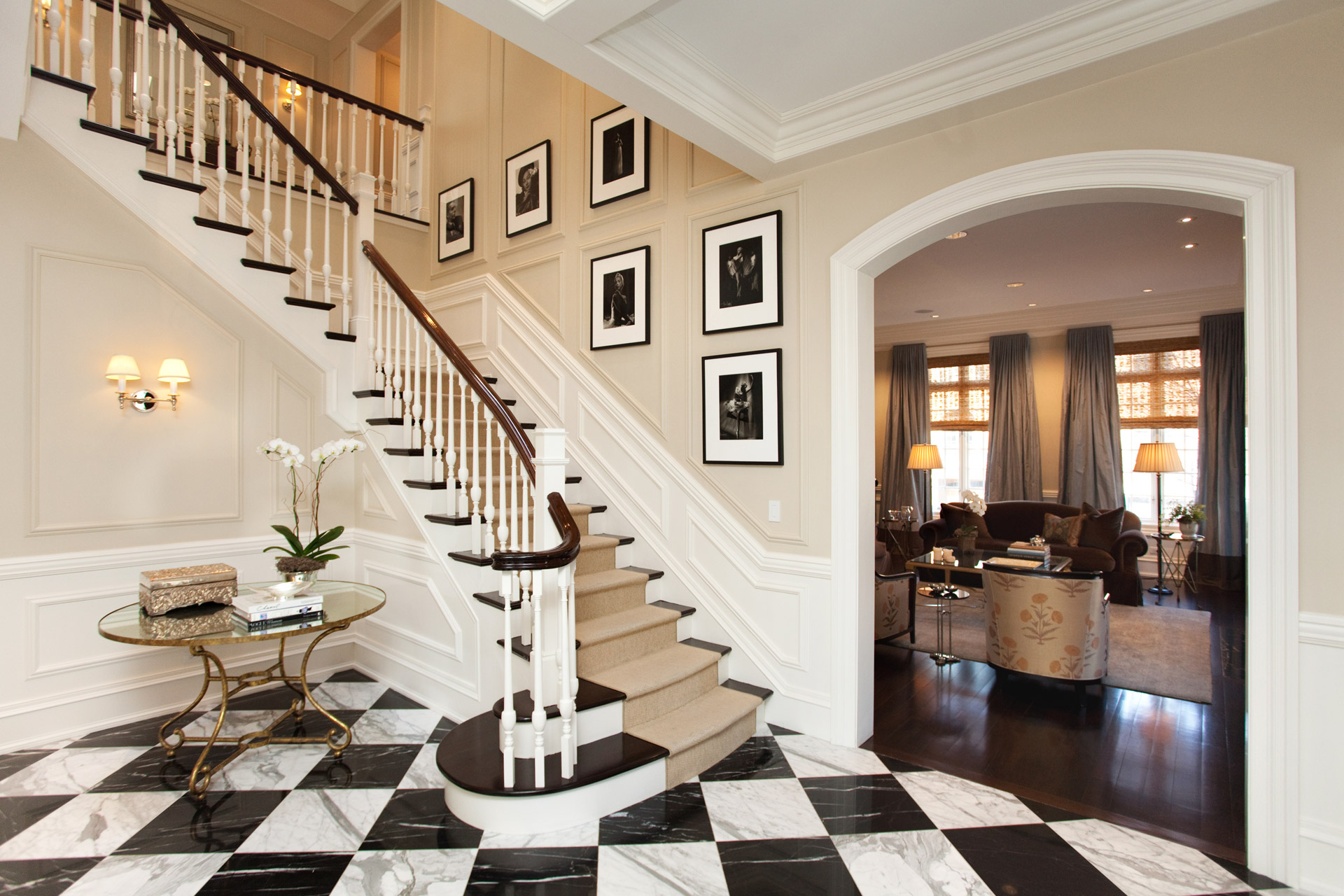 Classic traditional English French foyer staircase