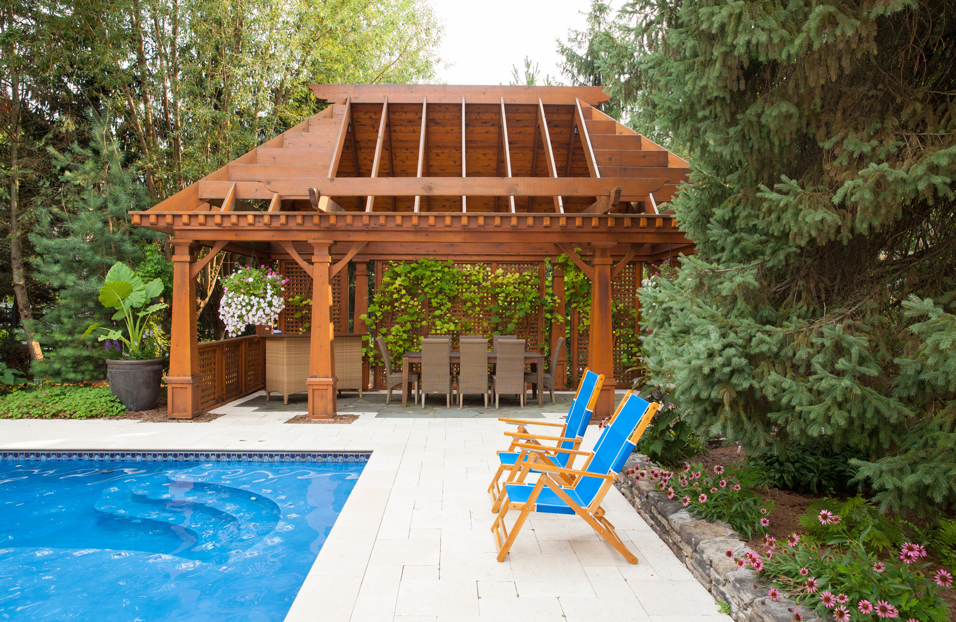 Custom cedar pergola gazebo pool