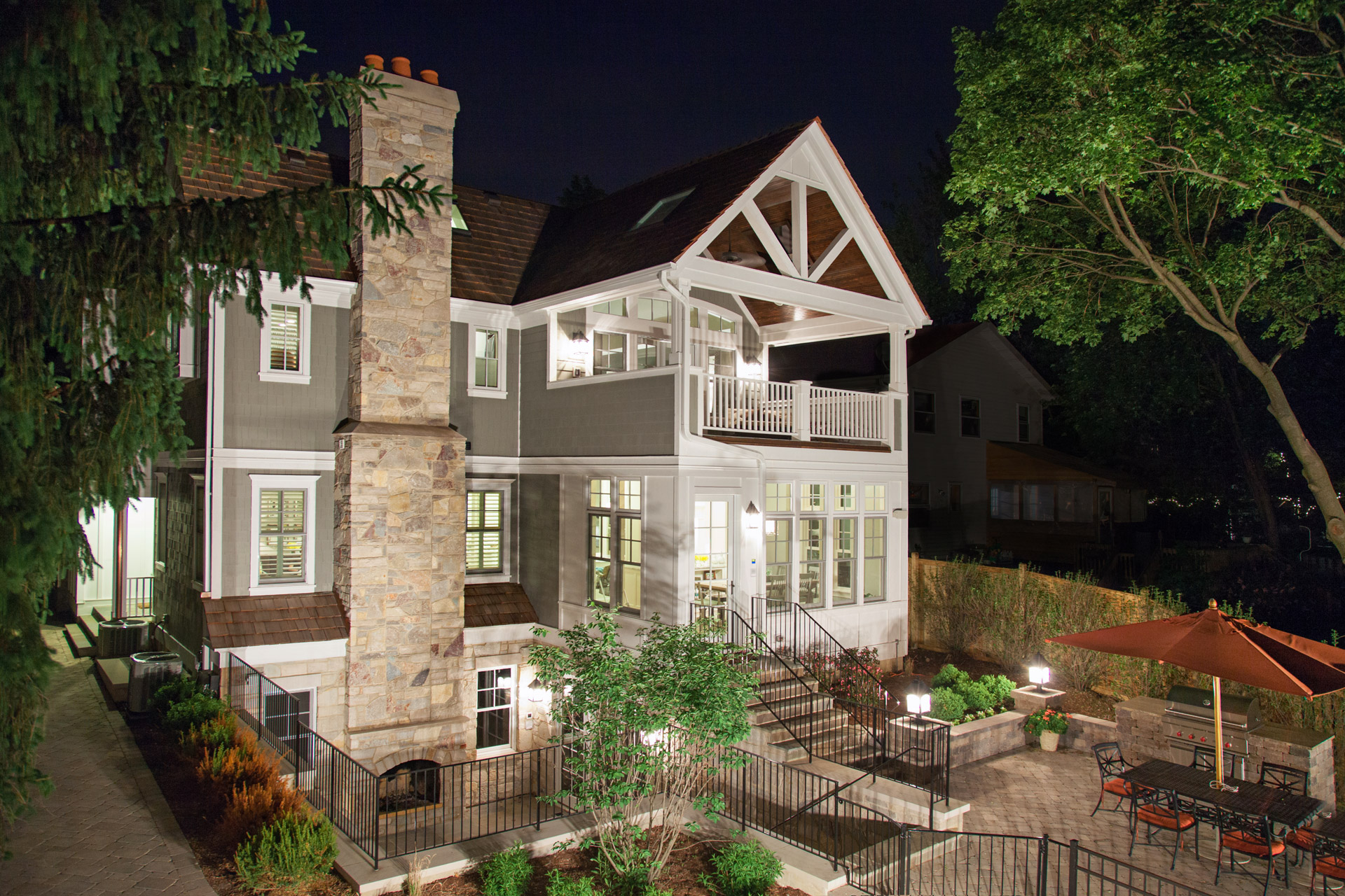 Exterior backyard  Downers Grove outdoor living night