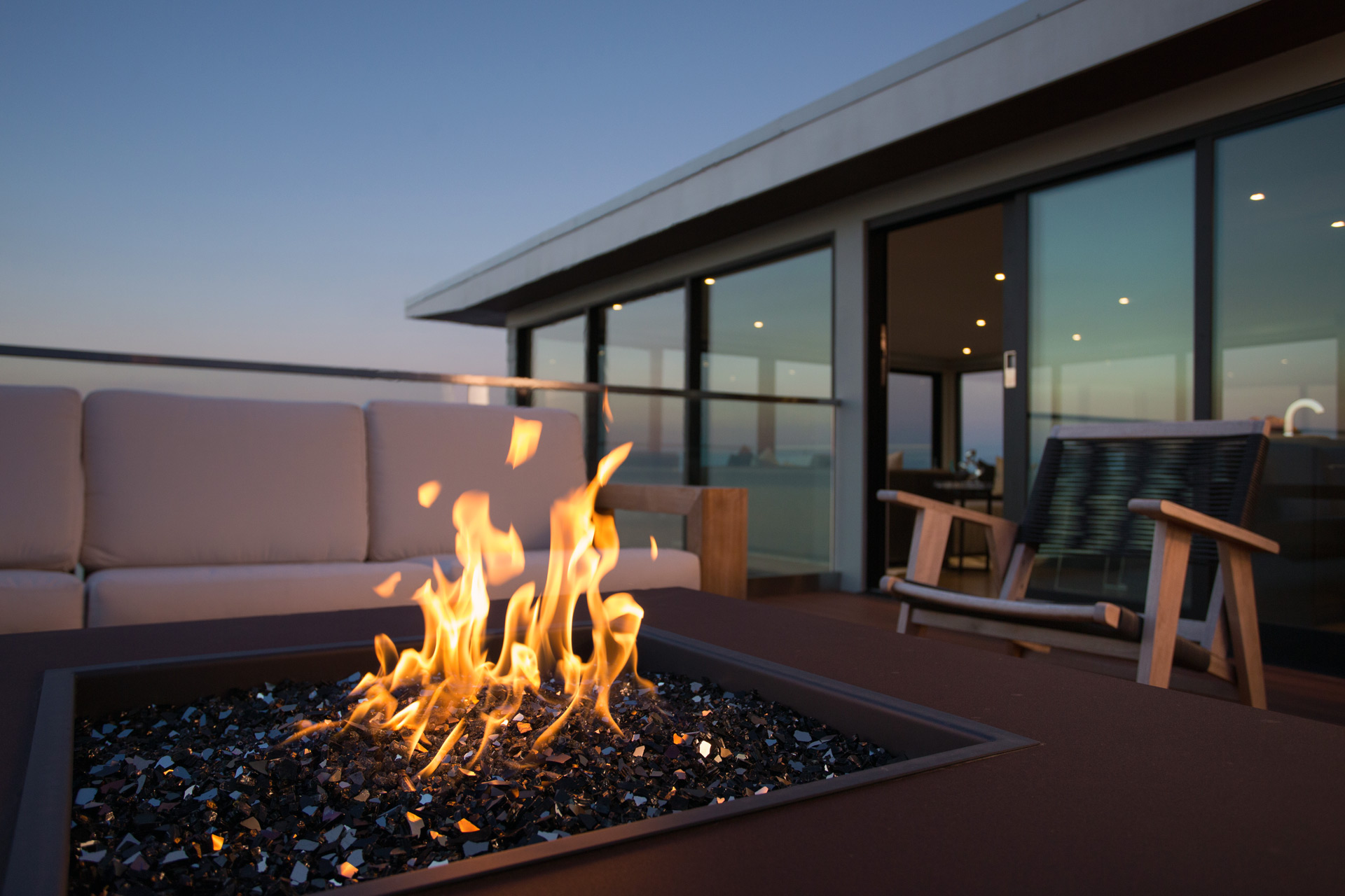 Glass gas fireplace outdoor modern Chicago rooftop