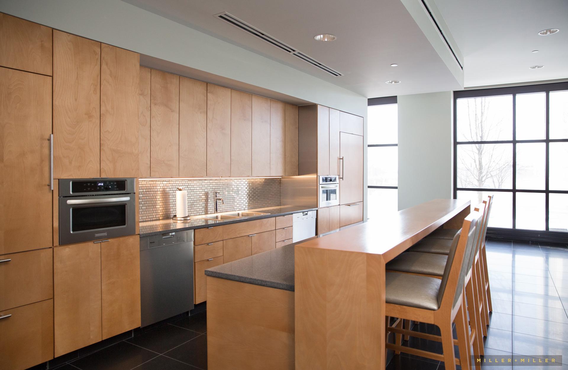 High-end commercial kitchen breakroom