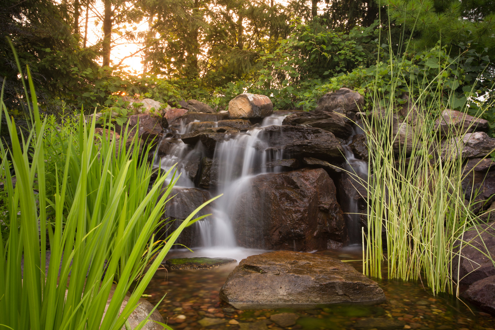 Illinois landscaping water fall lily ponds
