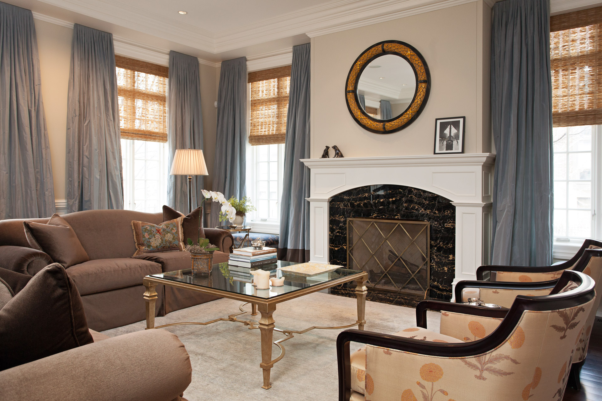 Chicago illinois interior photographers custom luxury home - Living room with fireplace ...