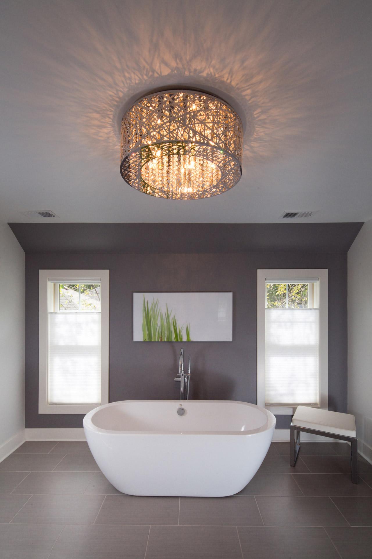 Modern tub chandelier bath