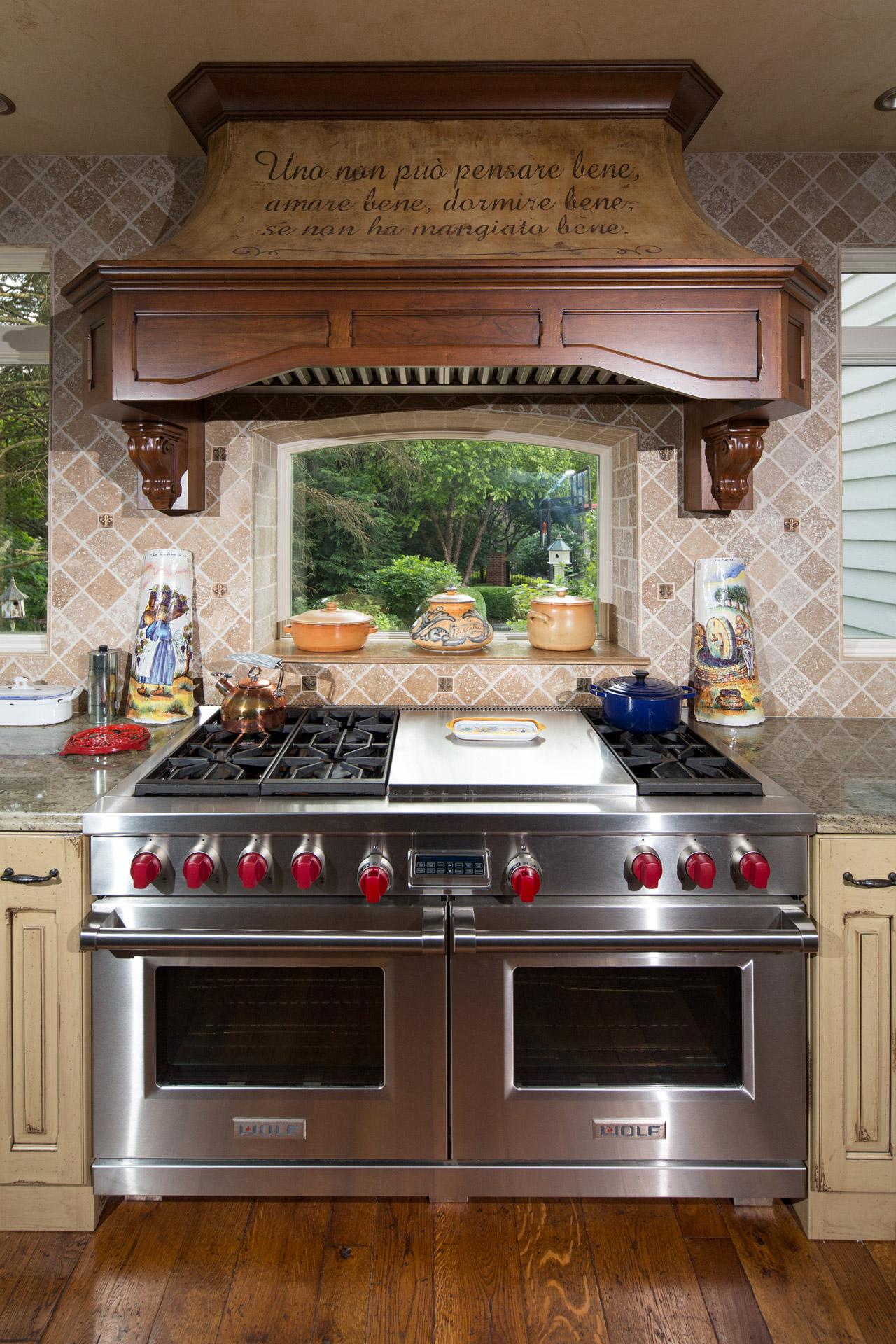 Hampshire stove bay window wooden hood