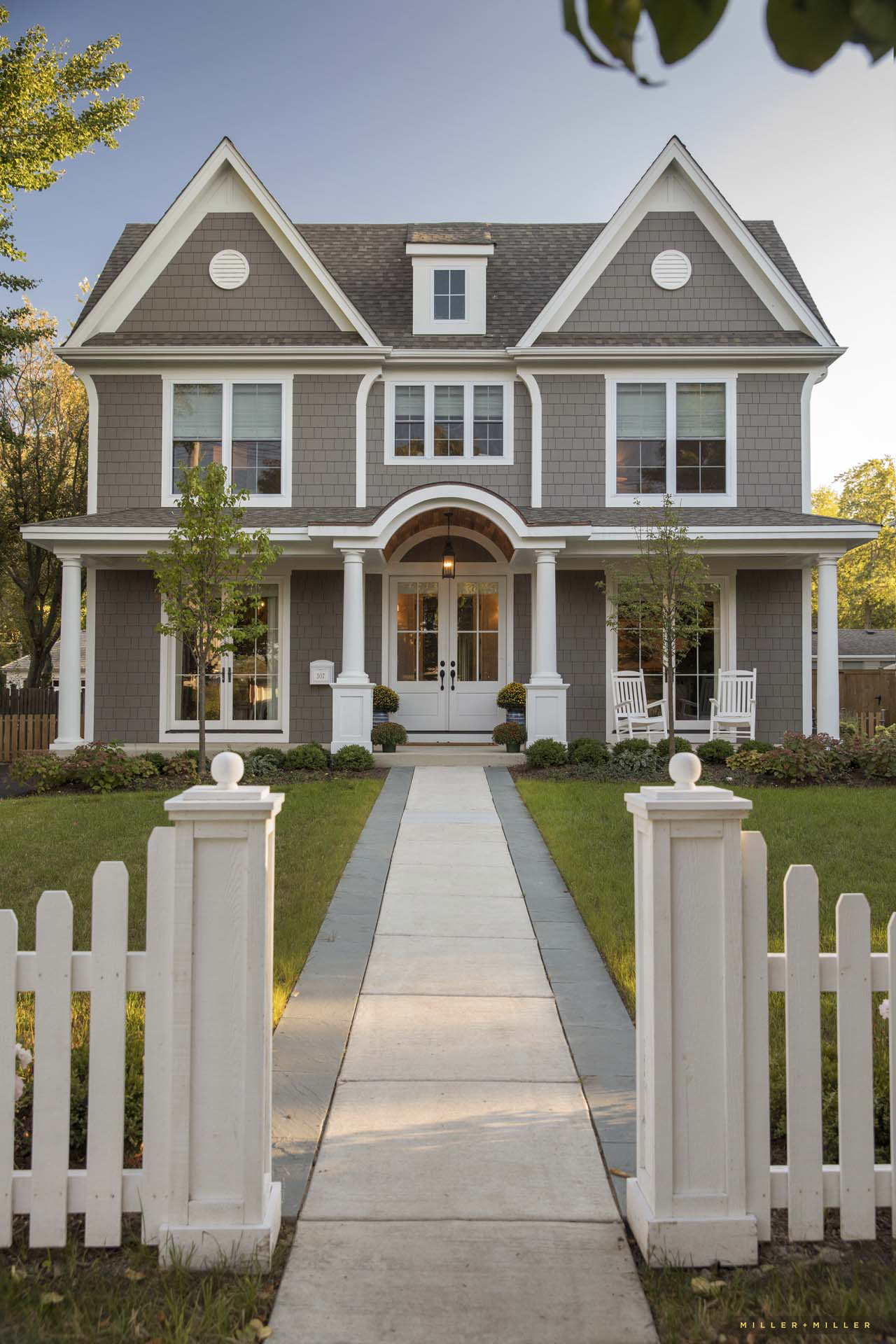 white picket fence fencing walkway