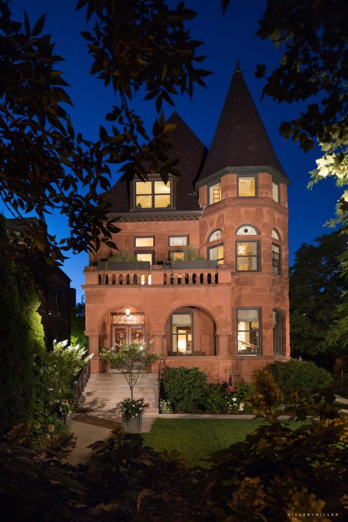 historic mansion home night photography Detroit