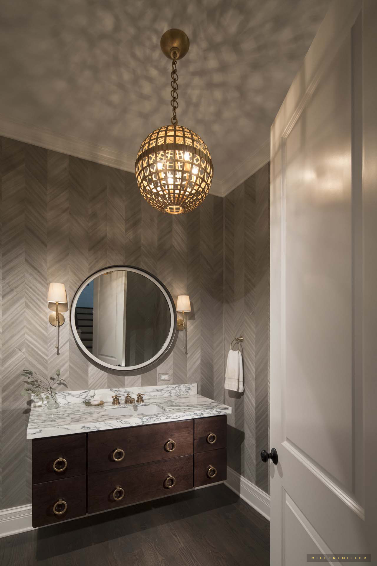 Stone Gold Hollywood Regency Vanity Powder Room