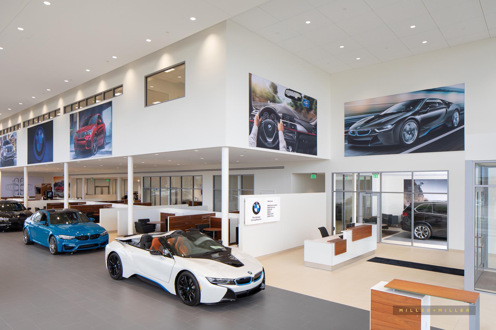 BMW car dealership renovation interior photography Chicago