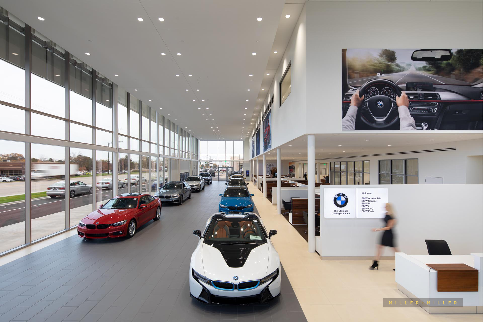car showroom architectural interior photos blurred people moving