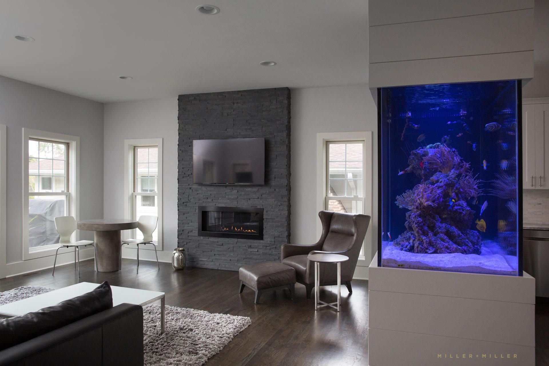 Salt Water Reef Tank Living Room Barrington Il