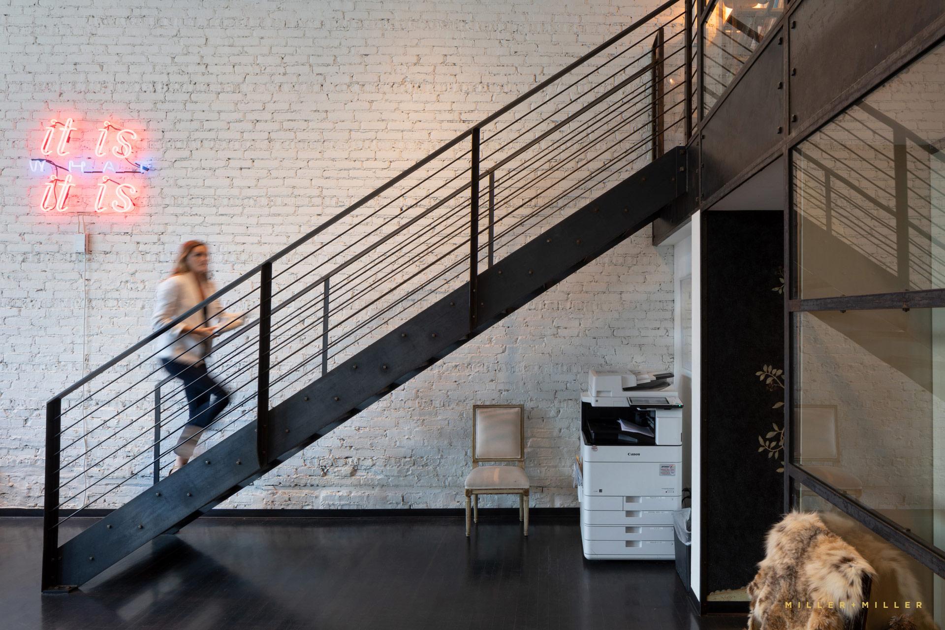Steel Metal Stairs Staircase Bricks Neon Sign