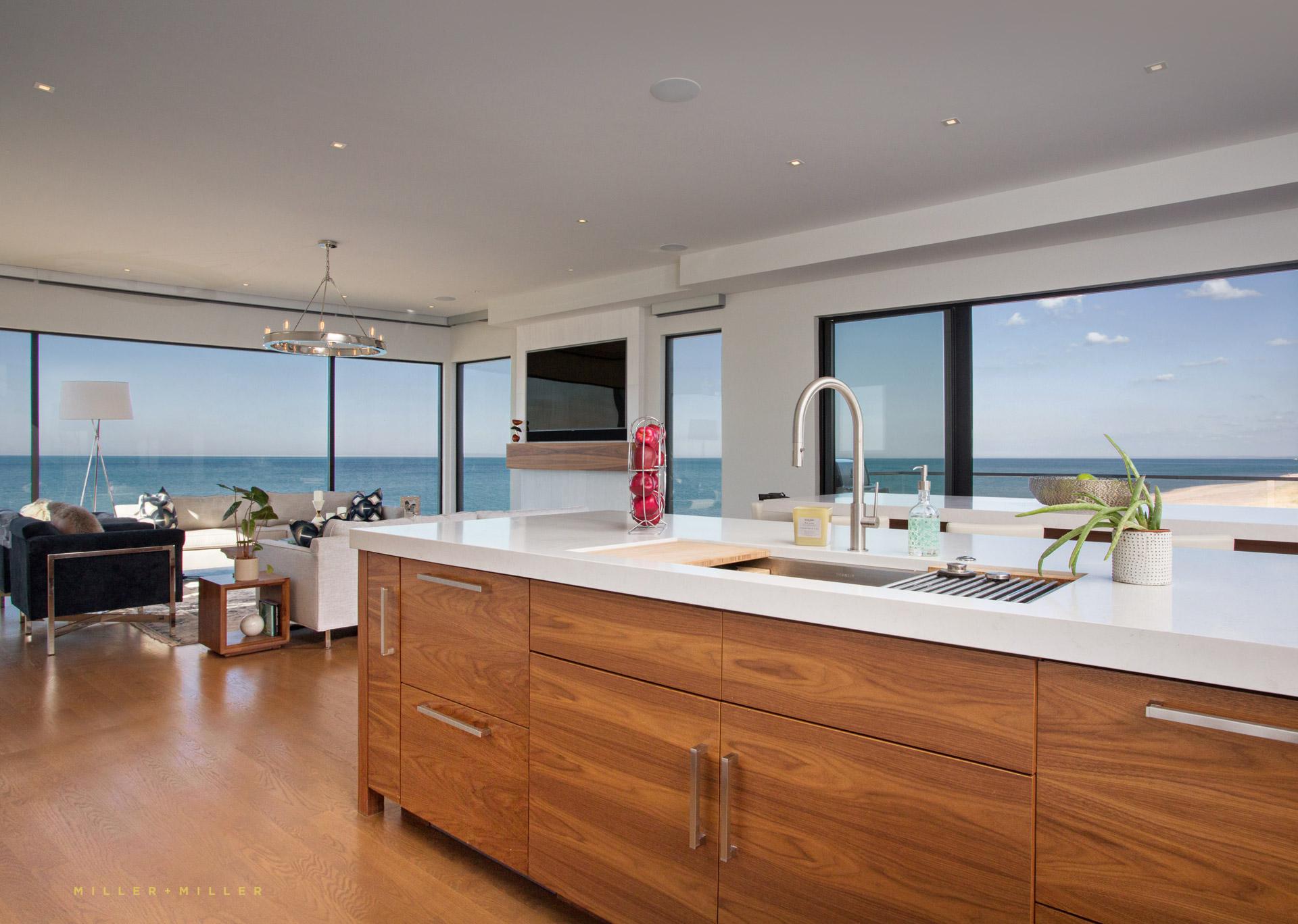 Modern Lake Home Kitchen Photography